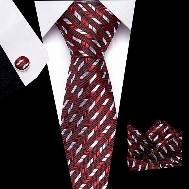 Solid Blue Mens Tie Set 2020 Jacquard Silk Ties Pocket Square Cufflinks Fashion Floral Ties for Men 7.5cm Corbatas недорого