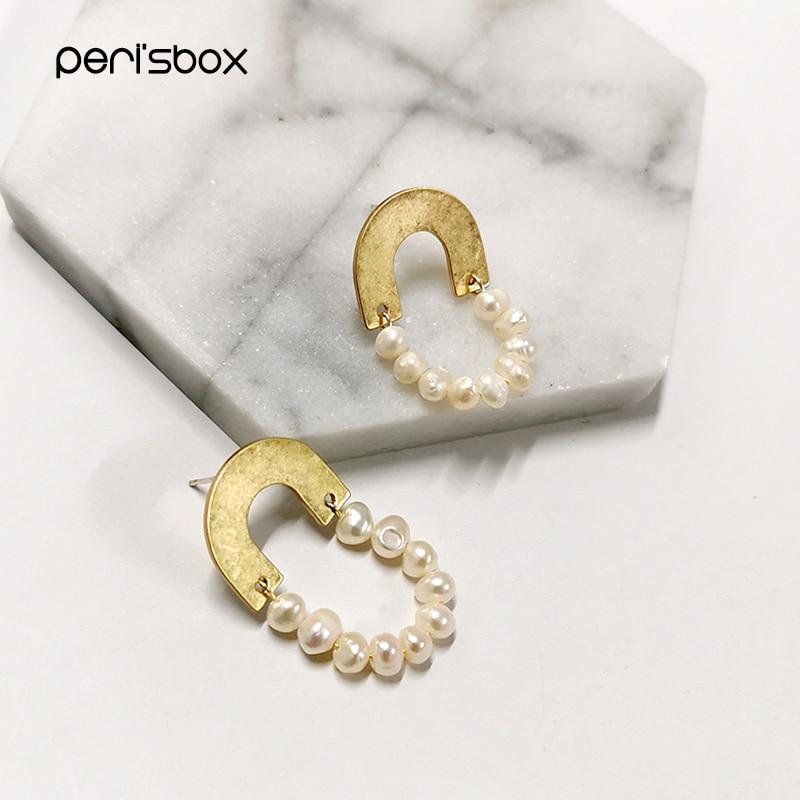Perisbox perla arco latón oro geométricos pendientes pequeños perla con cuentas gota pendientes para mujeres medio círculo delicados pendientes 2019