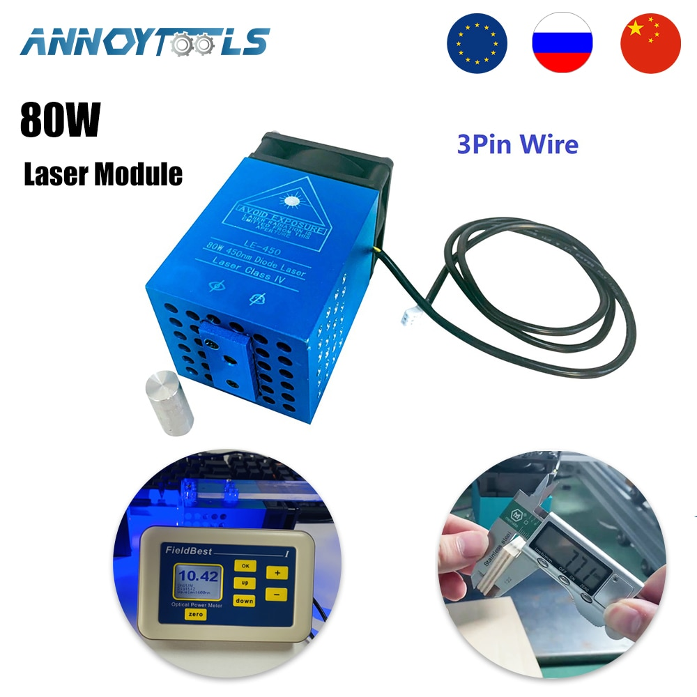 450nm 80W 40W Professional Version Focal Fixed TTL Module laser module compressed spot technology laser head laser cutting tool