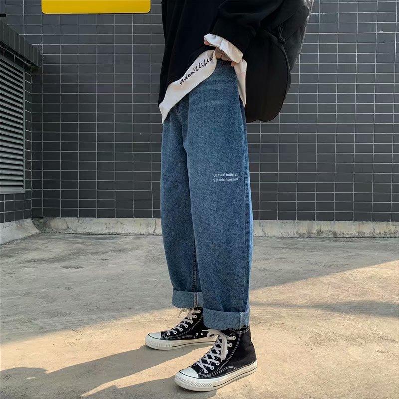 Новинка весна-осень свободные облегающие мужские джинсы для студентов прямые широкие брюки-трубы трендовые брюки