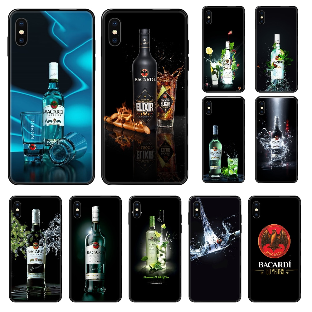 Funda de teléfono Bacardi para iphone 4 4s 5 5S SE 5C 6 6S 7 8 plus X XS XR 11 PRO MAX 2020 negro moda trasera cubierta de moda