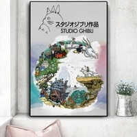 japanese anime miyazaki hayao cartoon poster and prints spirited away canvas painting decor wall art picture for living room