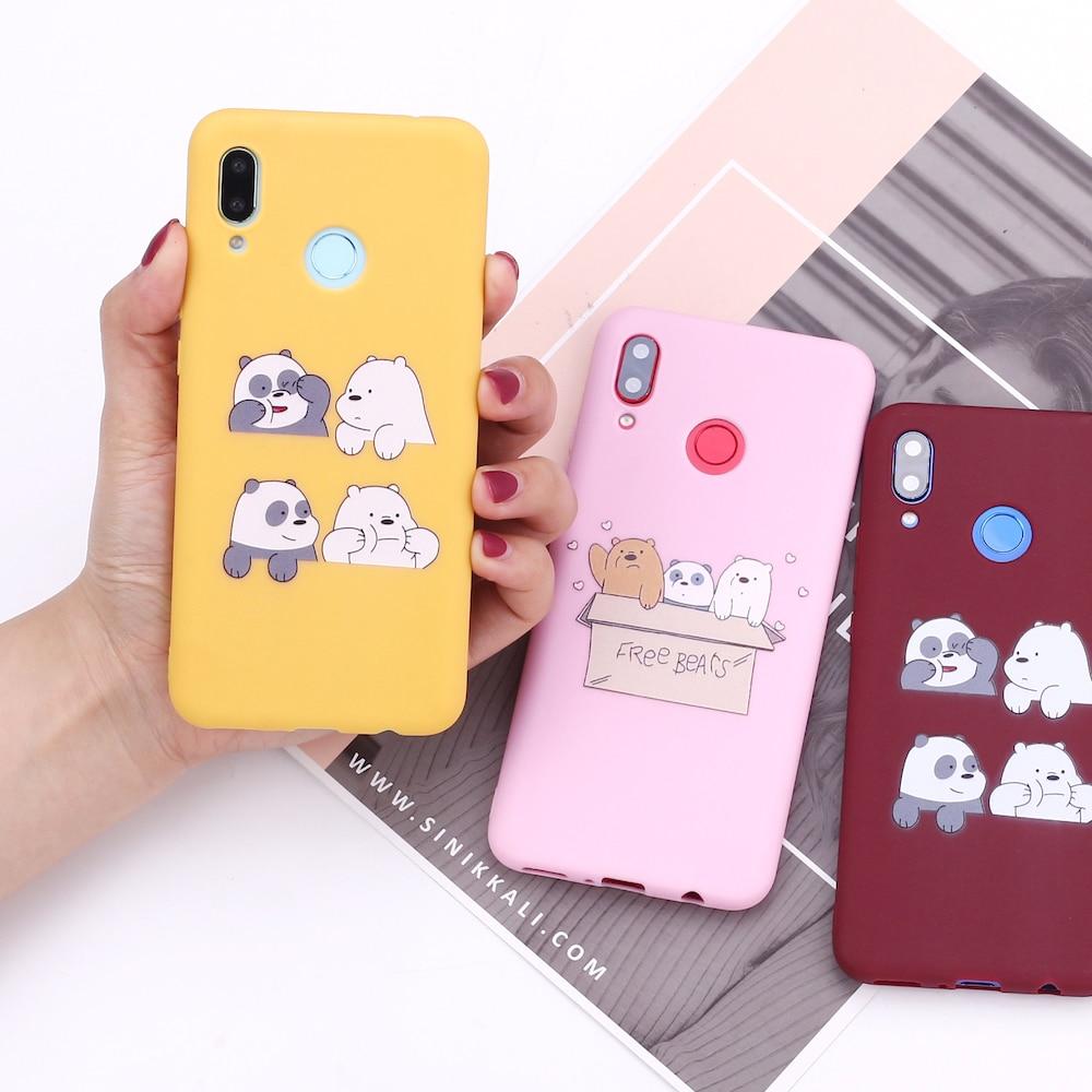 Funda de silicona para Huawei Honor Mate 10 20 Nova P20 P30 P40 P, bonita funda para teléfono inteligente de dibujos animados de amantes de los osos, Fundas