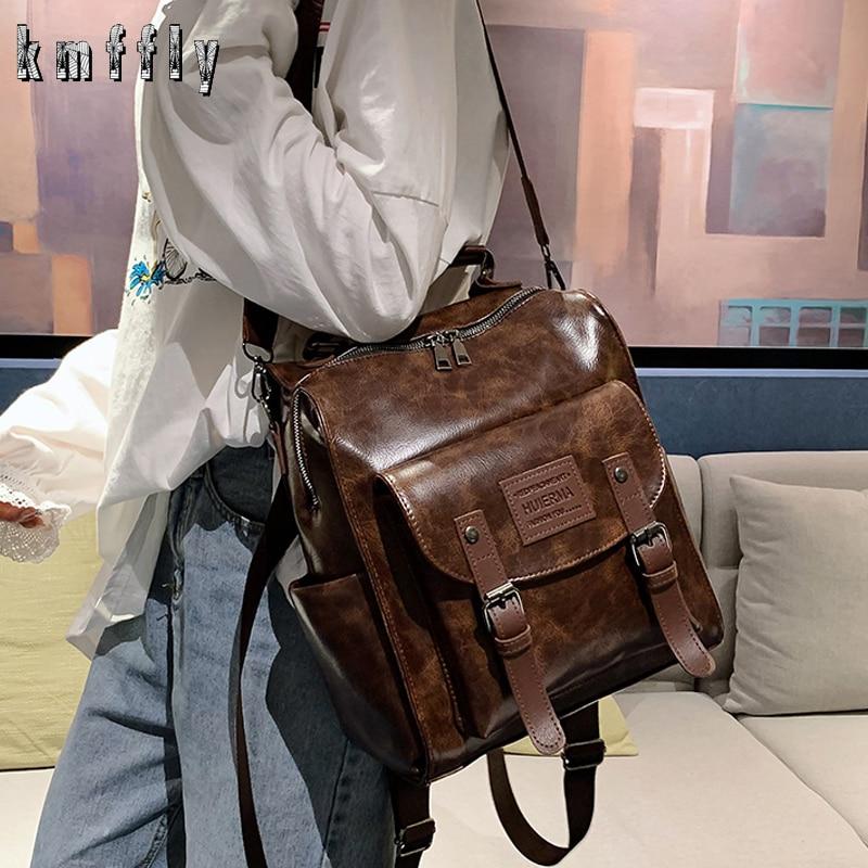 حقيبة ظهر من الجلد الصناعي للنساء ، حقيبة كتف للمراهقات ، للمدرسة ، جودة عالية ، 2020