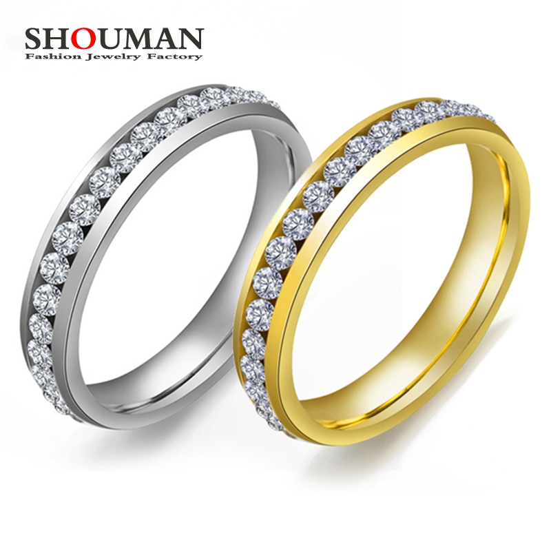 SHOUMAN  4mm Classic Luxury Crystal Inlay Stainless Steel Gold Rings for Women Girl Wedding Band Charm Party Gift tailor made luxury western rose gold color inlay health surgical stainless steel wedding bands rings sets