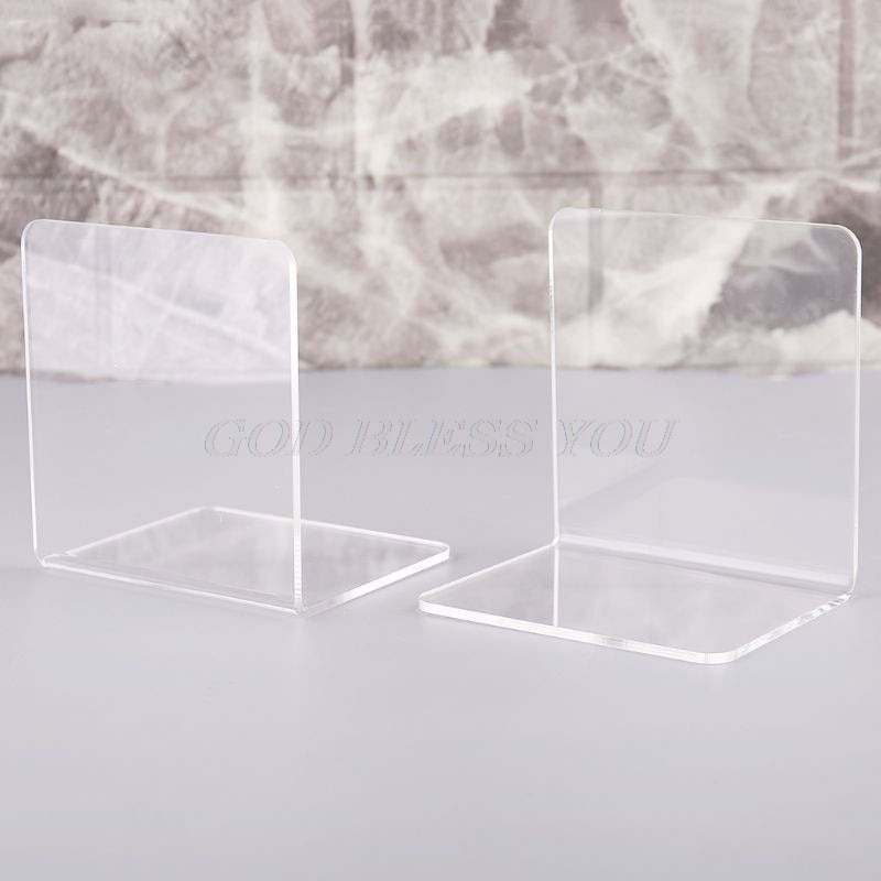 2Pcs Clear Acrylic Bookends L-shaped Desk Organizer Desktop Book Holder School Stationery Office Accessories Drop Shipping