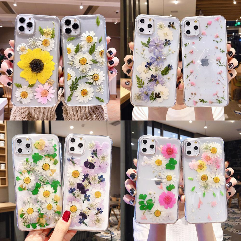 Suyacs seco flor folha capa de telefone para iphone 11 pro max xs max xr x 7 8 6 s plus crisântemo claro epóxi macio capa traseira presente