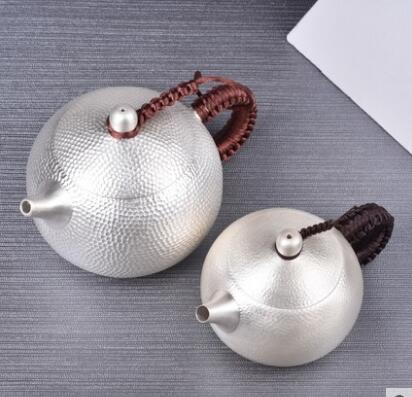 Tetera de plata hecha a mano juego de té hogar pequeña tetera de plata de ley tetera
