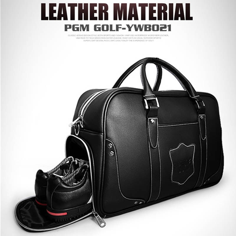 Leather Golf Shoes Clothes Staff Bag Waterproof Multifunction Pocket Travel Tote Light Shoe Care Pouch PGM Sport Golfbag Handbag