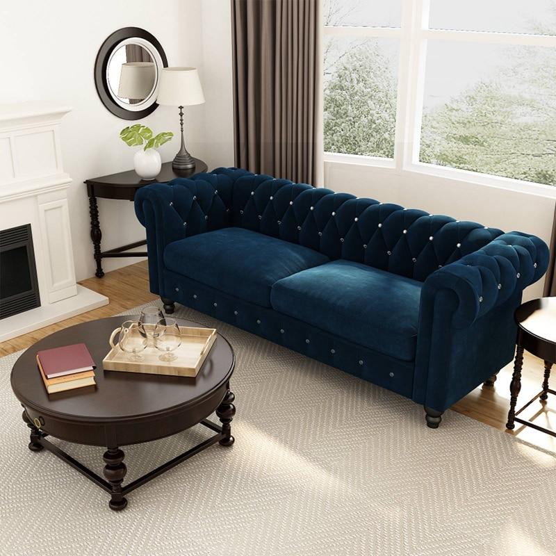 أريكة لغرفة المعيشة أريكة تشيسترفيلد منجد ، سطح مخملي