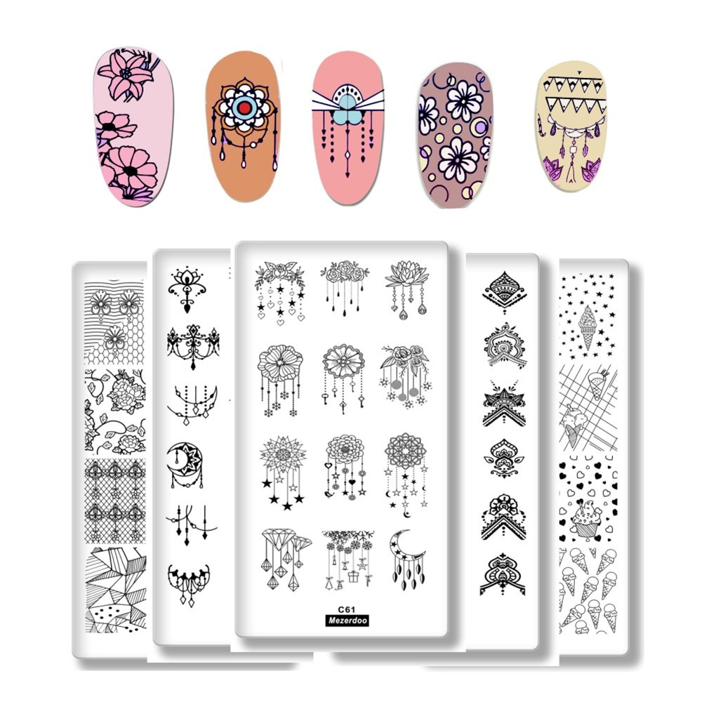 1Pcs Cartoon Animals Geometric  Various Pattern Nail Art Image Stamp Stamping Plates Swan Cat Nails Templates DIY Plate Tools