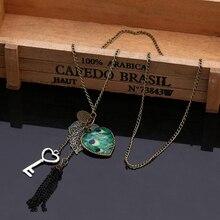 1 pièces rétro mode plumes de paon feuilles gros coeurs clé longue chandail chaîne gland pendentif collier