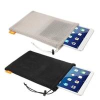 portable nylon mesh wallet ladies geometric large patchwork jewelry wristband handbag card organizador phone storage bags