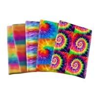 printing tie dyeing rainbow polyester cotton bubble fabricneedlework material diy handmade cloth 50145cm