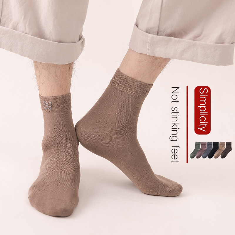 Мужские носки, весна-лето, мужские носки средней длины, забавные носки длиной, анти-запах, впитывающие пот, носки для велоспорта, мужские 5 па...