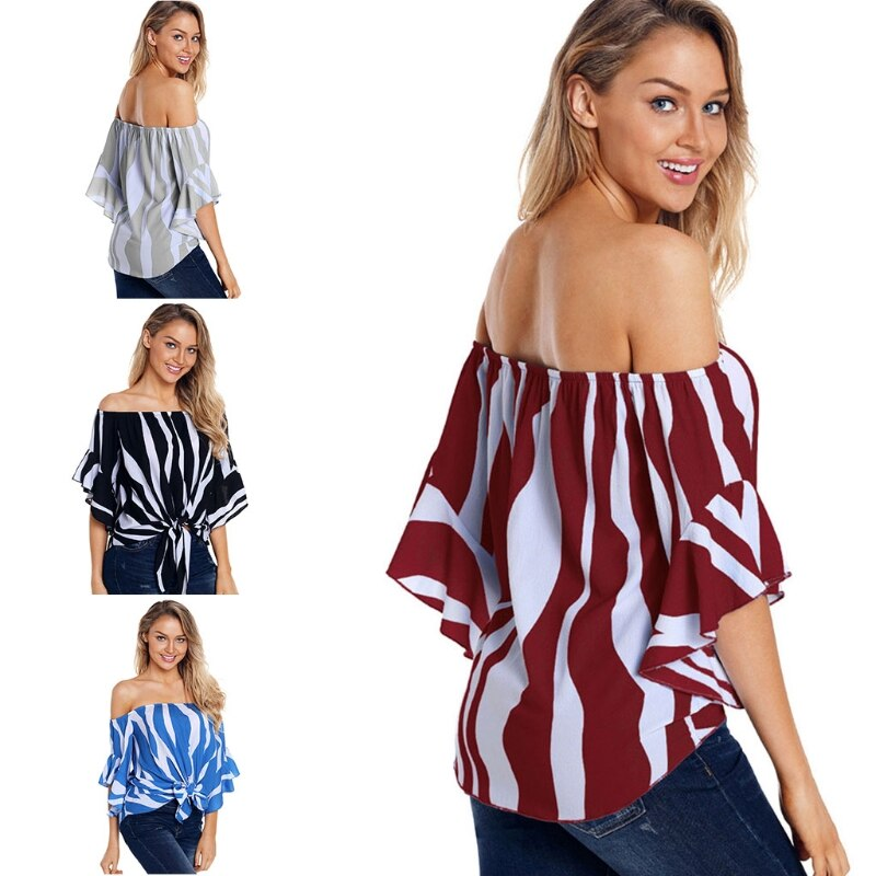 Women Striped Printed Off The Shoulder Tops 3/4 Flared Bell Sleeve Blouses Summer Tie Knot T-Shirt Pullover M7DD