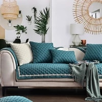 four season universal sofa cover modern solid color non slip cotton linen sofa cushion cover handtowel for 123 sofa all included