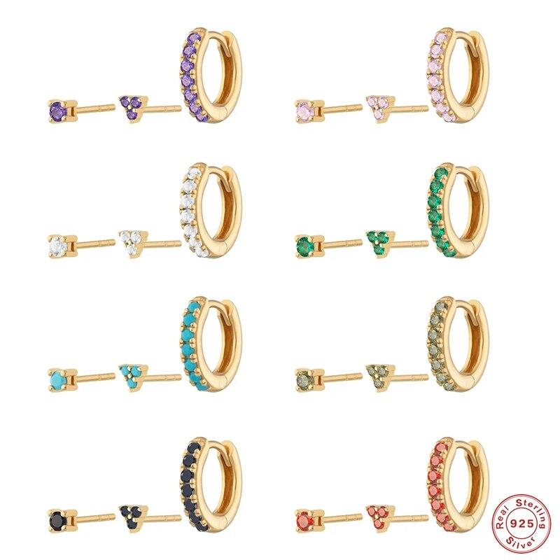 AliExpress - 2021 Trend Wedding Earring S925 Sterling Silver Purple/Green/Pink Zircon Stud Earrings For Women CZ Piercing Pendientes Jewerly