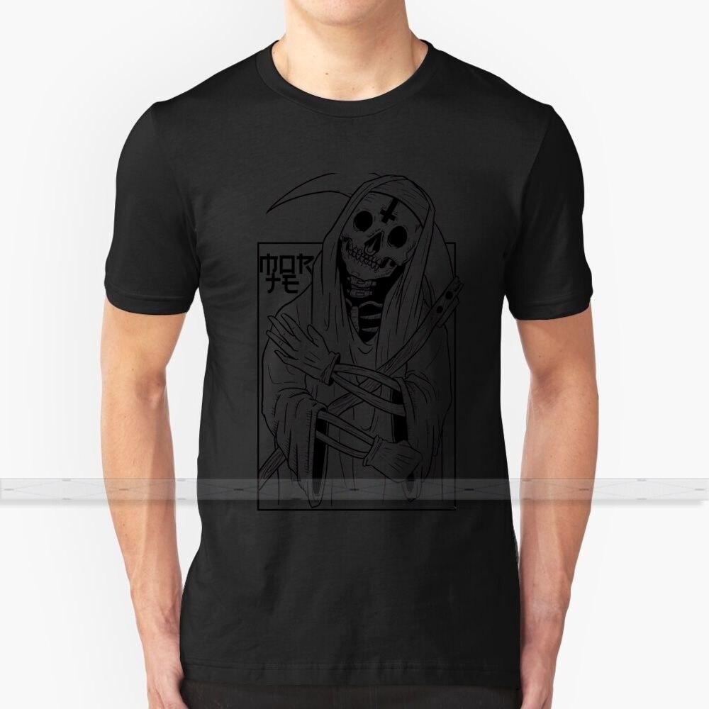 Reaper Nun (líneas negras) para hombres mujeres camiseta Tops verano algodón Camisetas talla grande S - 6XL monja diablo Cruz satánica Scythe 666