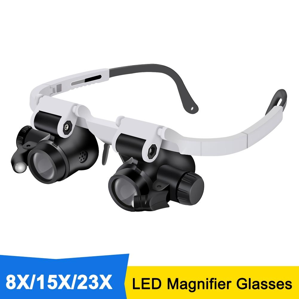 Увеличительные очки 8X/15X/23X, увеличительная повязка, увеличительные очки со светодиодный светильник кой, инструмент для ремонта лупы