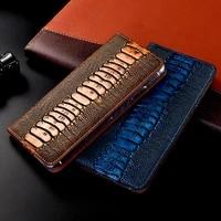 ostrich genuine leather phone case for google pixel xl 2 2xl 3 3a 3xl 3axl 4 4xl lite flip stand phone cover shells capa coque