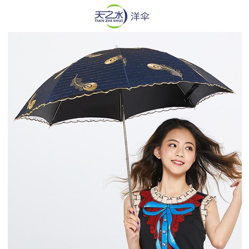 Rain Accessories Umbrella Women Designer Black Three Fold Umbrella Luxury Peacock Feather Paraguas Caravan Accessories AG50ZS enlarge