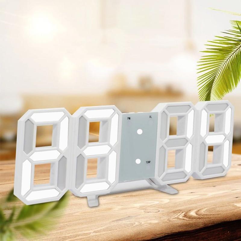 Alarma Digital LED reloj con luz de noche termómetro espejo pantalla reloj de lámpara 3D