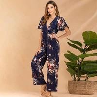 2021 summer jumpsuit women deep v neck short sleeve midi playsuit floral print office lady elegant temperament boho jumpsuit