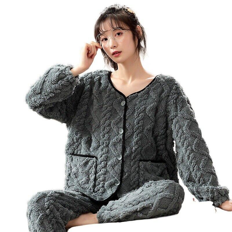 جديد الأزياء الكورية نمط 2021 الشتاء المرأة الفانيلا منامة مجموعة الدافئة لينة 2 قطعة دعوى ثخن النوم زر جيب البيجامة