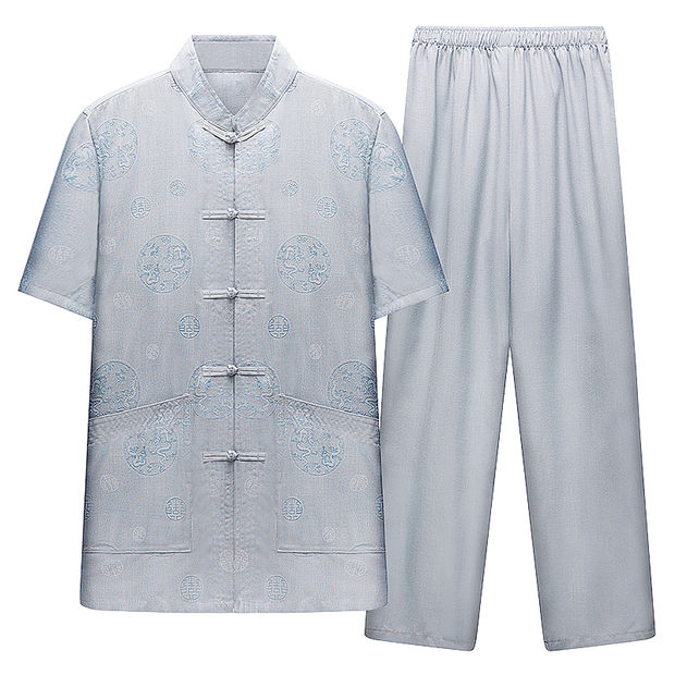 Chinese style Tang summer casual mens short sleeve trousers clothing two-piece set