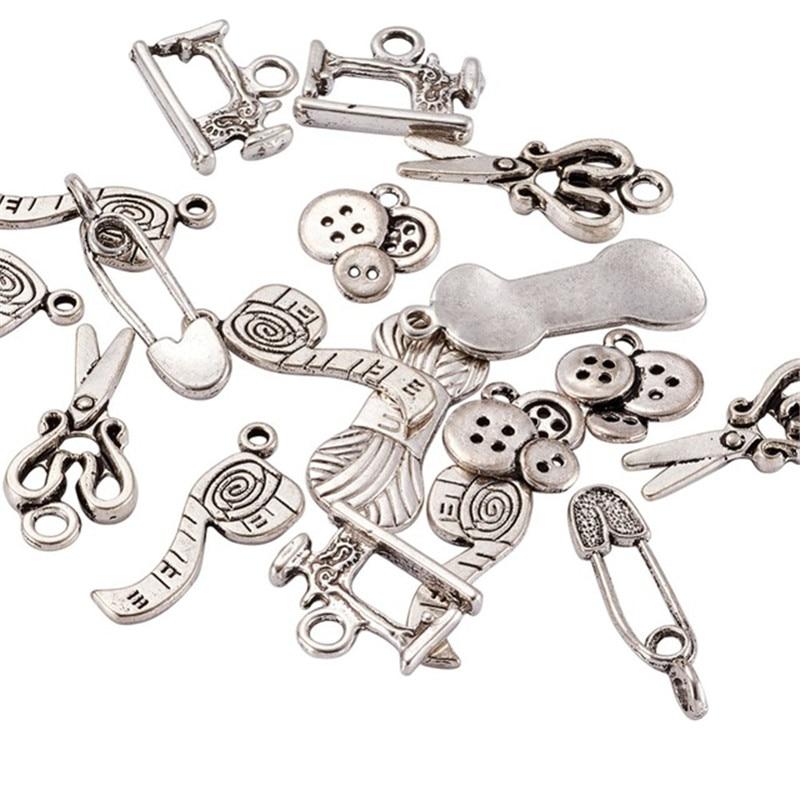 Accesorio de joyería colgante de aleación estilo Tibetano con tema de costura de punto, accesorio de tijera, Pin de tubo de hilo, botón de espiga, encanto de máquina de coser 85