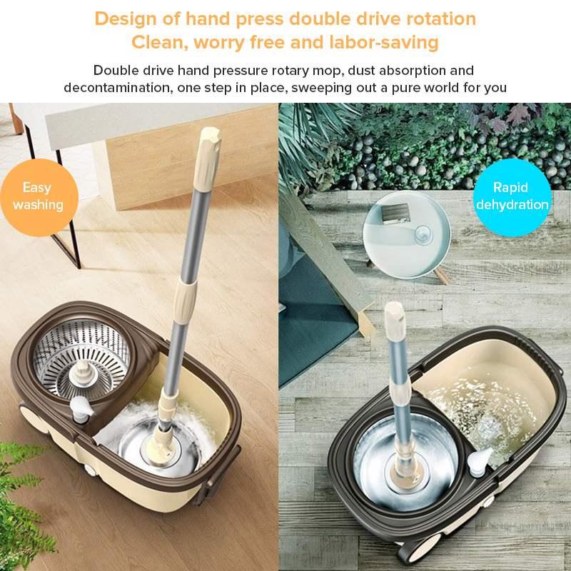 5/2 esfregões cabeças 360 graus rotatable cesta de aço inoxidável haste reforço balde placa metal ferramentas limpeza em casa com rodas