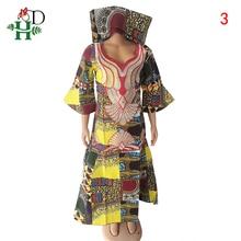 H & D Robe Africaine Femme 2020 africain impression cire robes femmes coton Boubou Femme traditionnel Maxi Robe avec tête S3302
