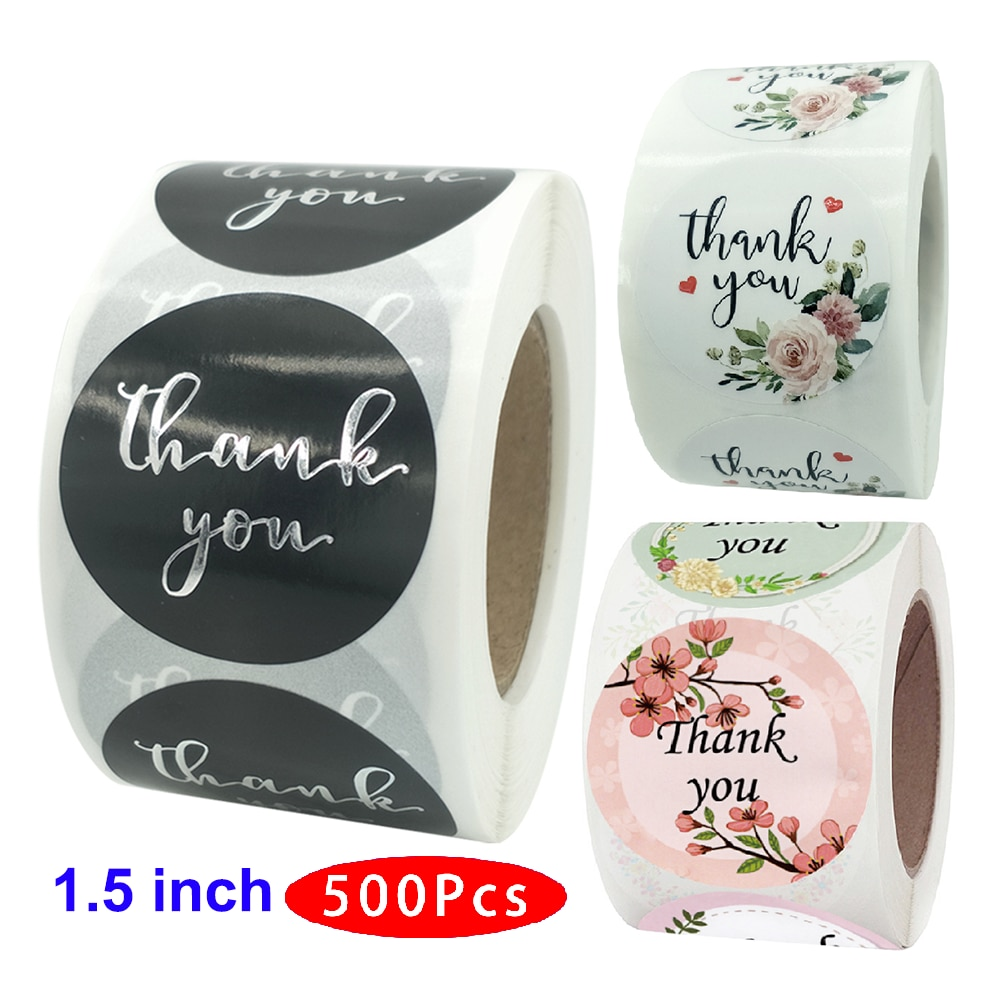 500Pcs/set 1.5inch Cute Kawaii Flower Thank You Sticker Seal Label Scratch Off Aesthetic Scrapbooking Adhesive Accessory Journal