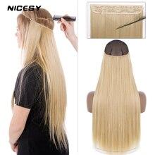 NICESY estensioni sintetiche per capelli lunghi dritti Halo Ombre naturale nero biondo One Piece Hairpiece Fish Line capelli finti