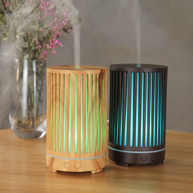 Humidificador de aire de grano de madera ondulado, difusor de Aroma hueco, atomizador ultrasónico, humidificador de aceite esencial silencioso para el hogar