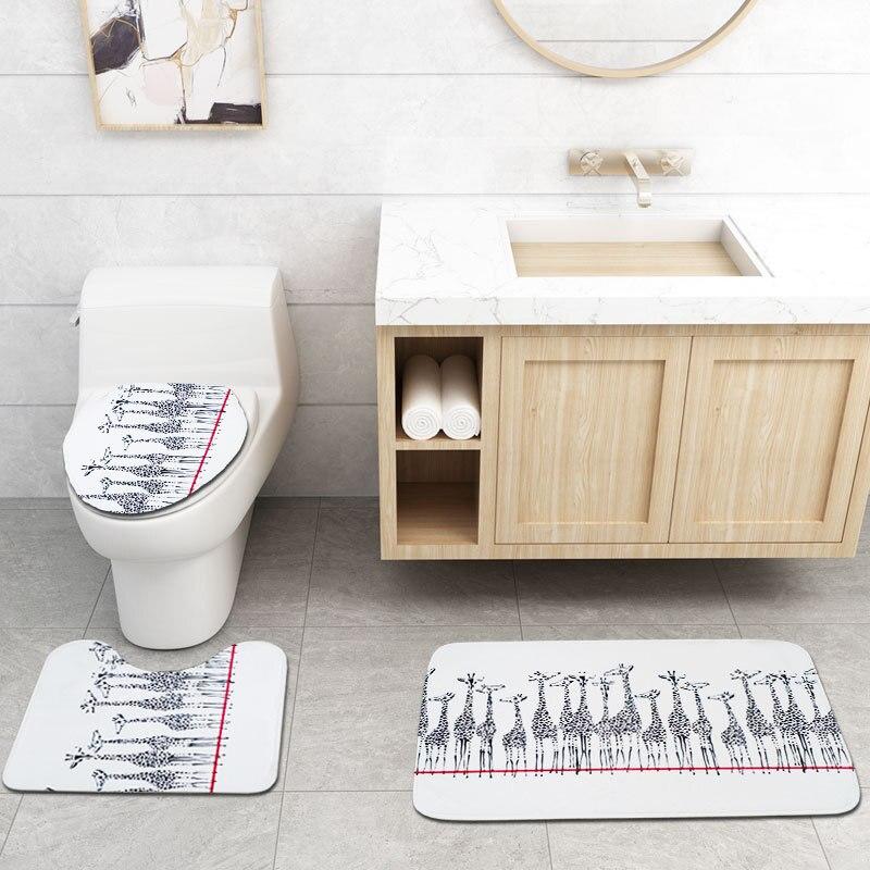 Cartoon Printing Waterproof Shower Curtain Bathroom Toilet Floor Mat Suit Toilet Partition Curtain Toilet Seat enlarge