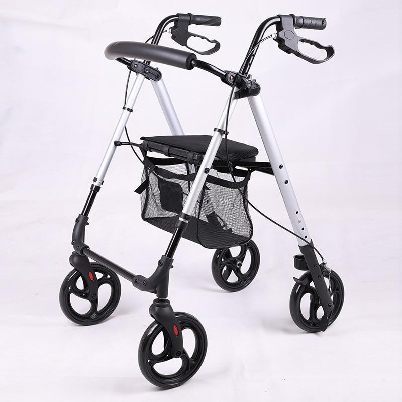 المسنين عصا للمشي عربة أربع عجلات ووكر المحمولة طوي إعادة التأهيل ووكر مع مشاية فرملة اليد لكبار السن