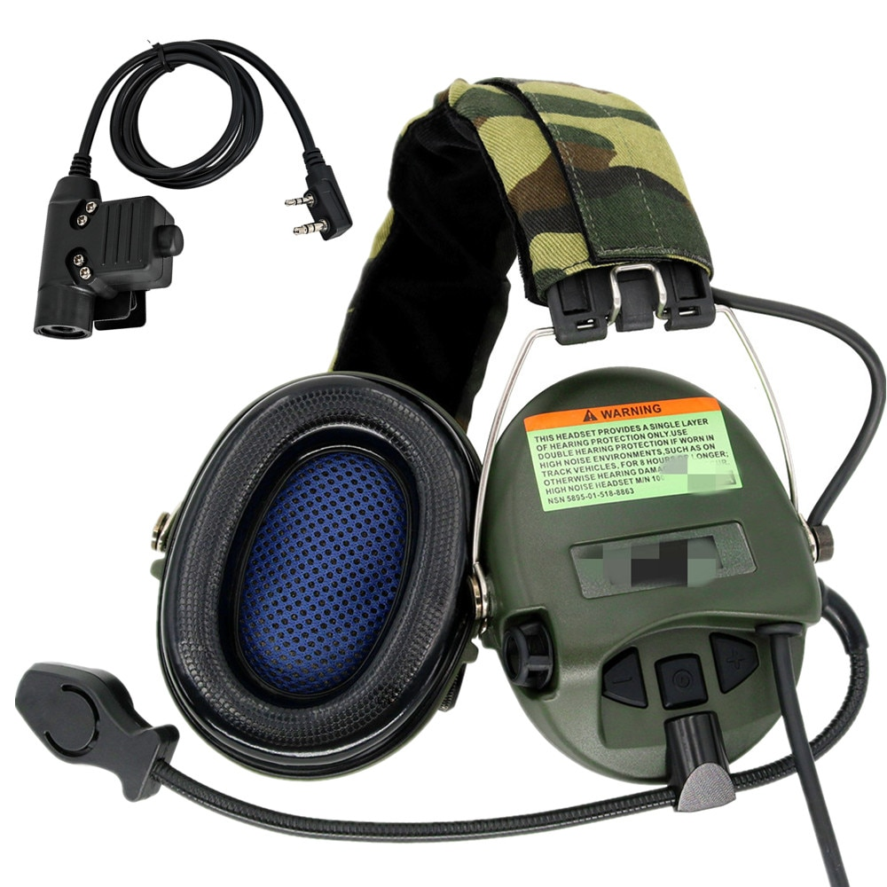 سماعة رأس تكتيكية MSASORDIN سماعة رأس للرماية الإلكترونية سماعة رأس عسكرية مضادة للضوضاء سماعات أذن + تكتيكية U94 ptt