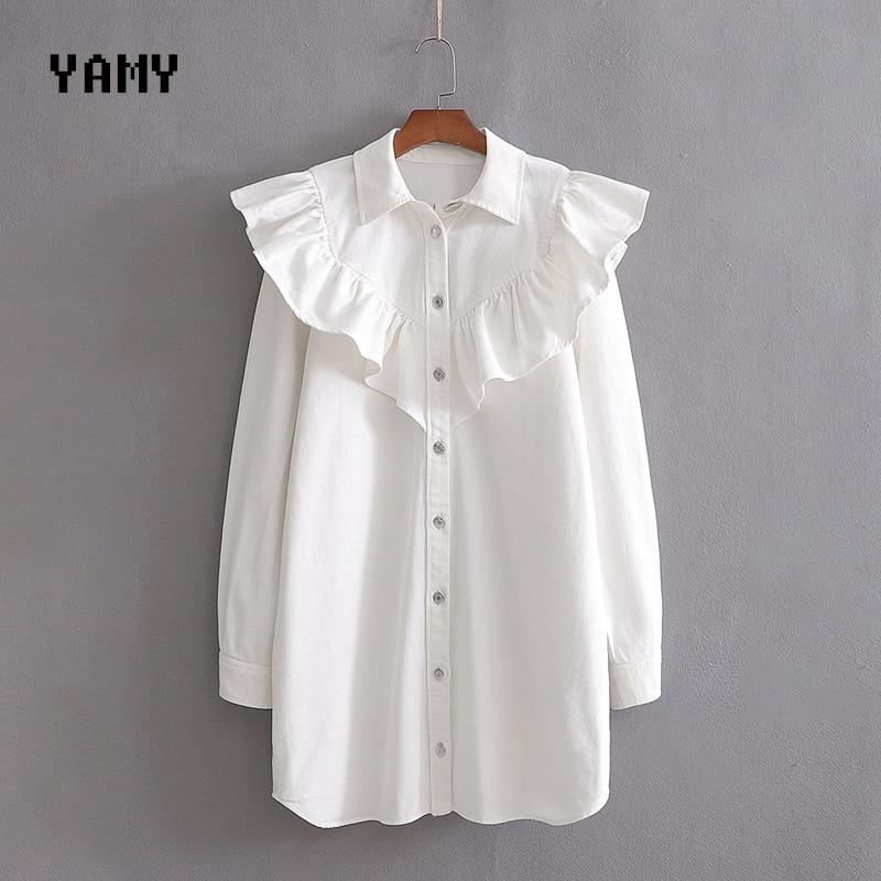 New Womens Denim Mini Shirt Dress long sleeve ruffle trim zoravicky Winter short Dress stylish zora white Jeans Dress Vestidos