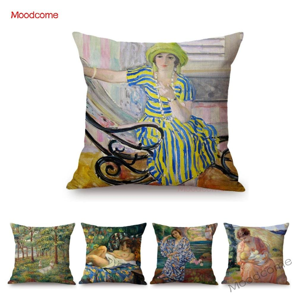 Pintura al óleo del pintor francés Henry Lebasque Post impressionismo, funda de almohada para el sofá, pintura de fama mundial, fundas de cojines artísticas