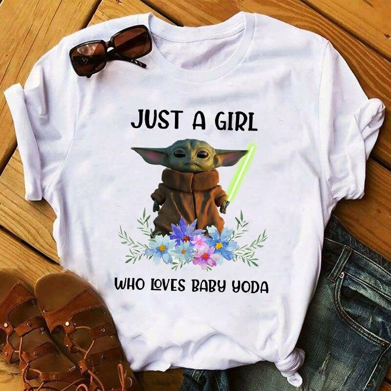 Mujeres 2020 dibujos animados Star Wars bebé Yoda flor divertidas vacaciones tapas ropa Camisas y camisetas gráficas camiseta para mujer