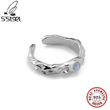 S'STEEL 925 Sterling Silver Moonstone New Texture Irregular Simple Opening Rings For Women Minimalis