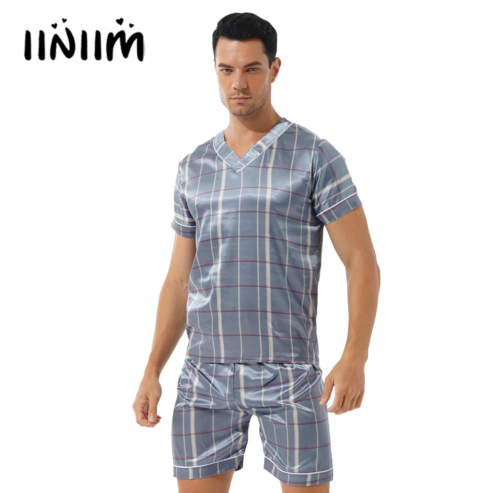 Mens Male Pajama Set Fashion Print Satin Pajama Loungewear Casual Two-piece Nightwear Homewear Male