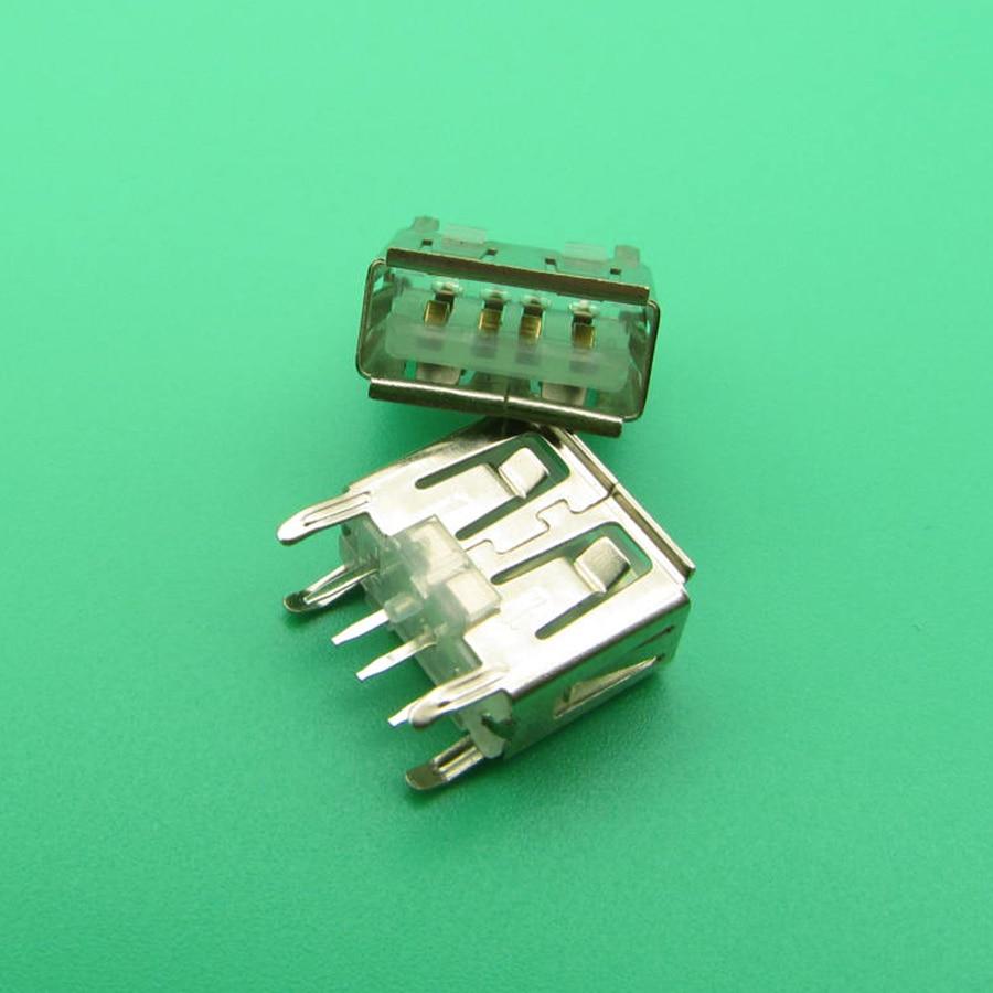 50 pces placa-mãe do portátil micro 2.0 usb 4pin 4 pinos dc branco um tipo de ângulo plano 180 graus fêmea pcb conector tomada jack plug