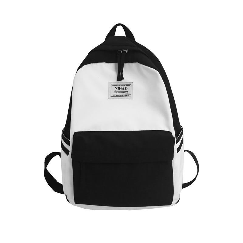 Contrast Color Backpack 100% Cotton Canvas Leisure Or Travel Bag for Women Fresh Sweet School Bag For Teenage Girls Shoulder Bag