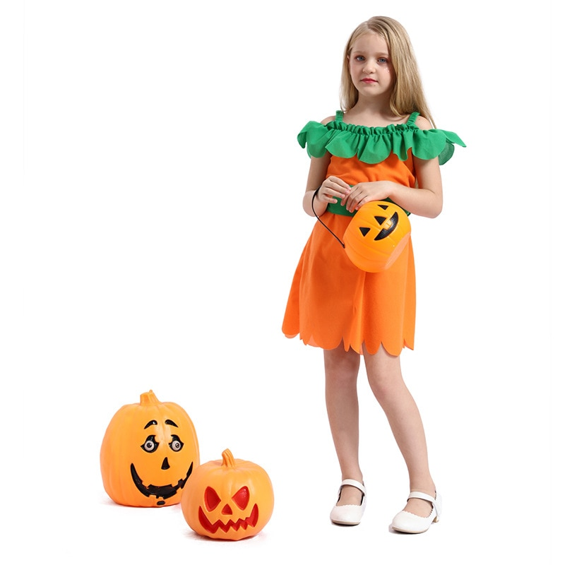 Childrens Costume for Halloween Cosplay Party Witch Show Dress Pumpkin