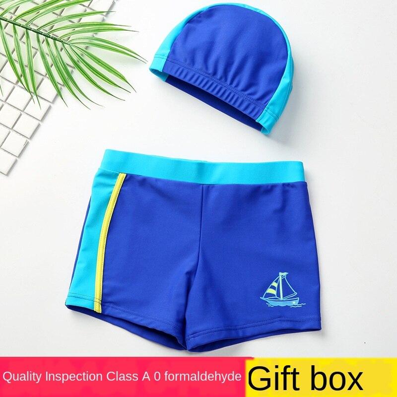 2020 Verão novo Classe A Crianças Natação Troncos Meninos Dividir Com Chapéu Azul Breifs-secagem Rápida Praia Maiô Bebê-da Roupa do desgaste