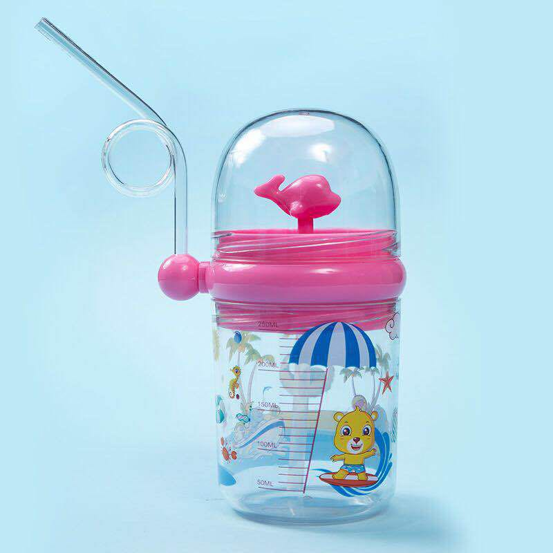 250ML Kids Funny Whale Water Spray Cup Cartoon Baby Feeding Bottle Portable Children Drinking Bottle Cups With Straws Drinkware cups stor 82306 mug drinkware water bottle kids feeding bottles for baby