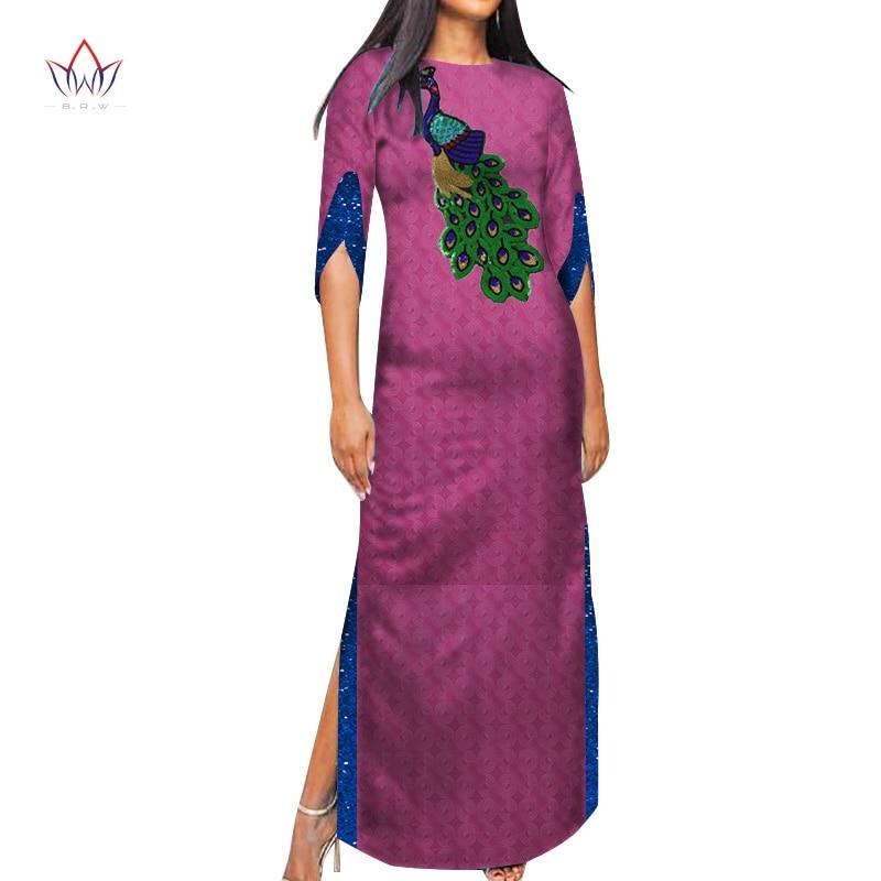 Dashiki African Dresses for Women Causal Women Dresses African Print Women Party Long O Neck Half Sleeve Bazin Rich Dress WY7936 недорого